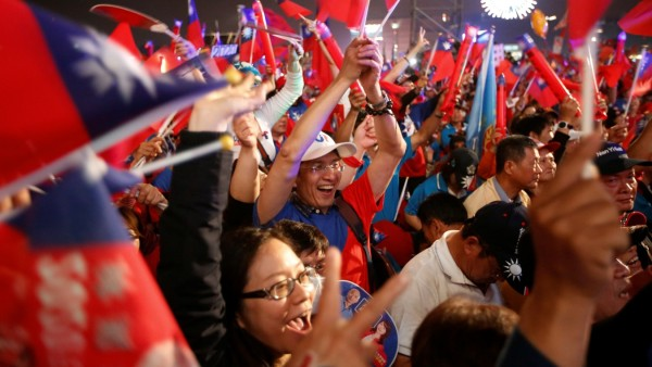 Supporters of Kuomintang party's presidential candidate Han Kuo-yu attend his election rally in Kaohsiung