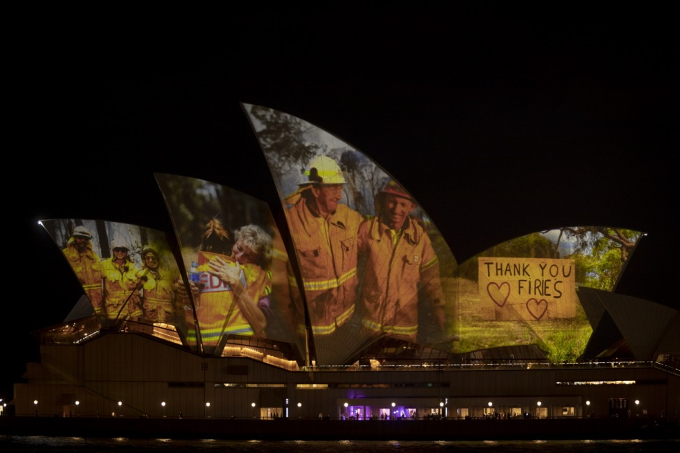 Sydney Opera House Sails Light Up In Support Of Australians Affected By Bushfires