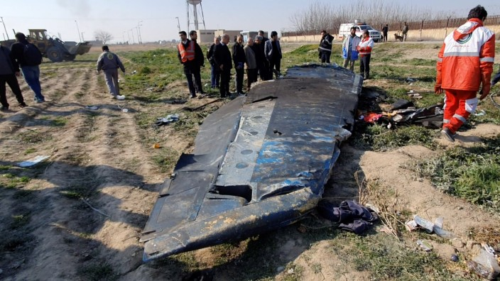 General view of the debris of the Ukraine International Airlines, flight PS752, Boeing 737-800 plane that crashed after take-off from Iran's Imam Khomeini airport, on the outskirts of Tehran
