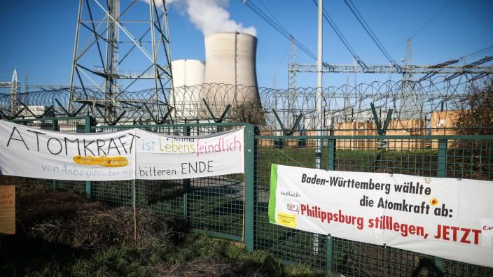 Aktion zur Abschaltung des Atommeilers Philippsburg 2