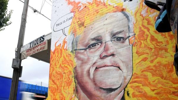 Buschbrände in Australien: Wandgemälde des Premiers Morrison