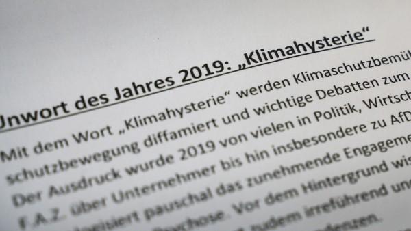 """""""Klimahysterie"""" ist Unwort des Jahres 2019"""