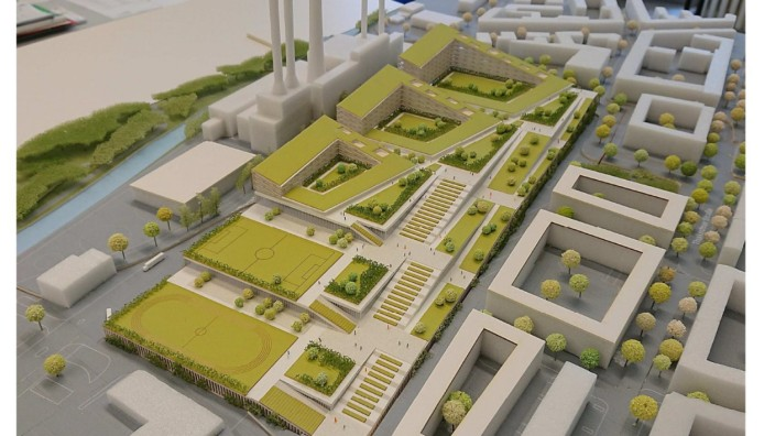 Entwurf für Neubau: Spektakuläres Bauprojekt mitten in München: Die neue Großmarkthalle soll überdeckelt werden, das gilt auch für die Lkw-Parkplätze. Modell: Henn Architekten