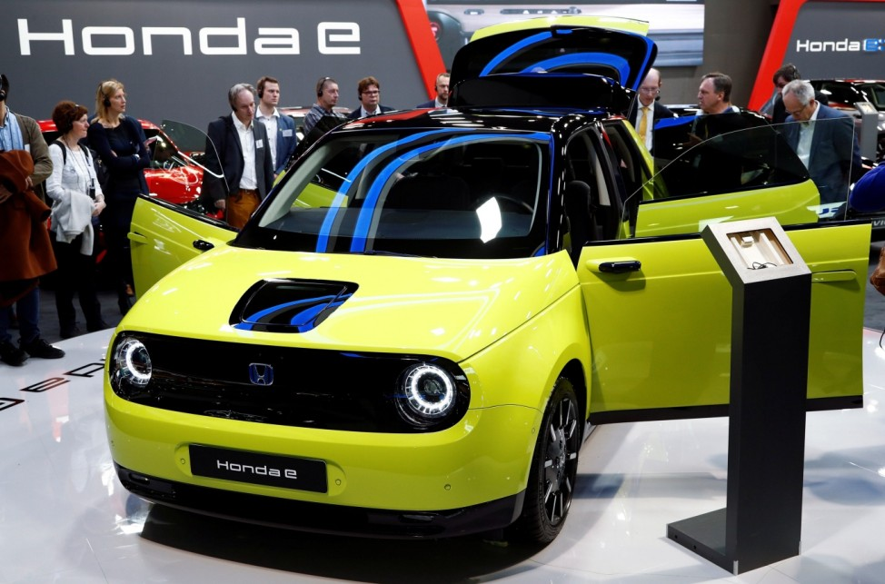 A Honda E electric car is seen at Brussels Motor Show
