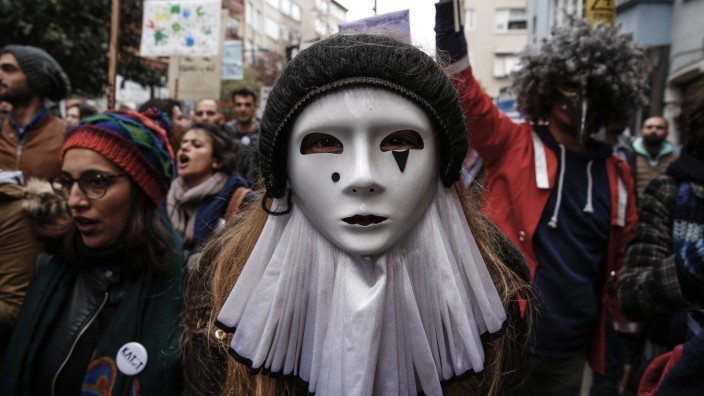 March 27 2017 Istanbul Turkey An artist performs during International World Theater Day in Is