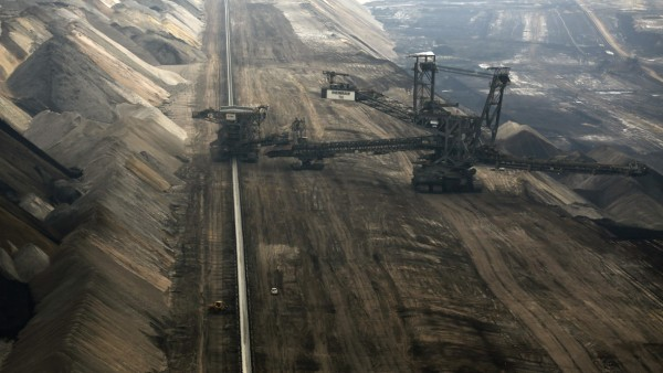 An overview shows the open-cast lignite mine Garzweiler of German power supplier RWE near the village of Grevenbroich, west of Cologne