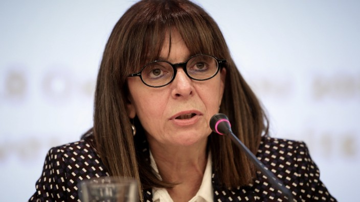 President of the Council of State, Greece's top administrative court, Katerina Sakellaropoulou speaks during an event in Athens