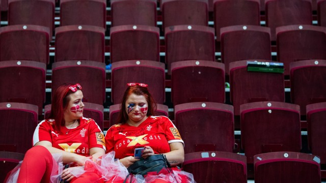 200115 Fans of Denmark look dejected after the EHF European Handball Championship match between Russia and Denmark on J