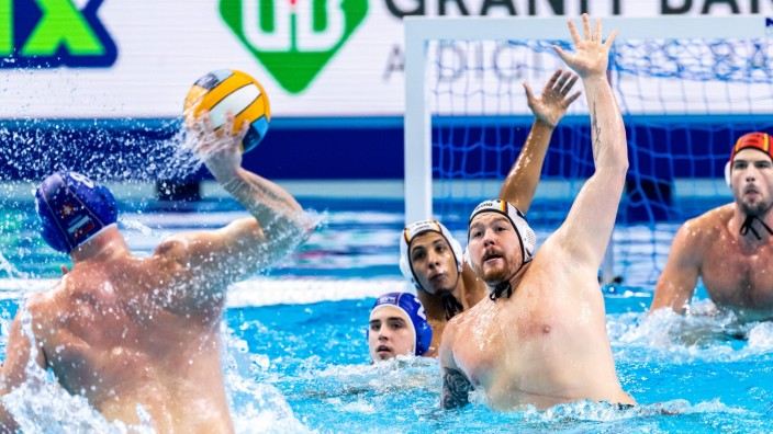 Budapest 16/01/2020 Duna Arena Germany (white caps) Vs. Slovakia (blue caps) Men XXXIV LEN European Water polo, Wasserb