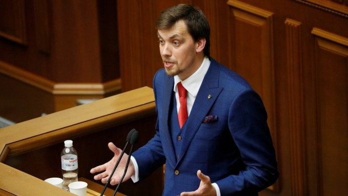 Ukrainian politician Honcharuk attends a session of parliament in Kiev