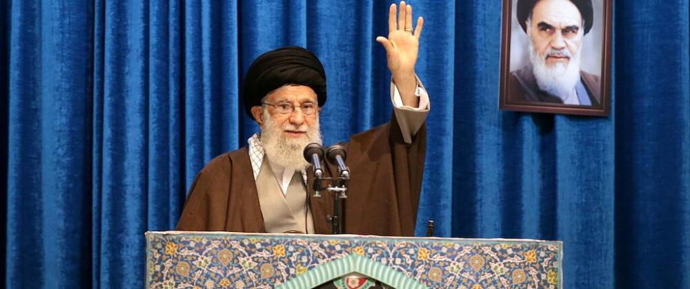 Iran's Supreme Leader Ayatollah Ali Khamenei gestures as he delivers Friday prayers sermon, in Tehran