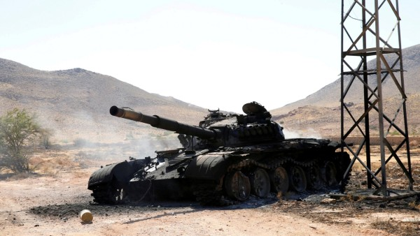 FILE PHOTO: A destroyed and burnt tank, that belongs to the eastern forces led by Khalifa Haftar, is seen in Gharyan south of Tripoli