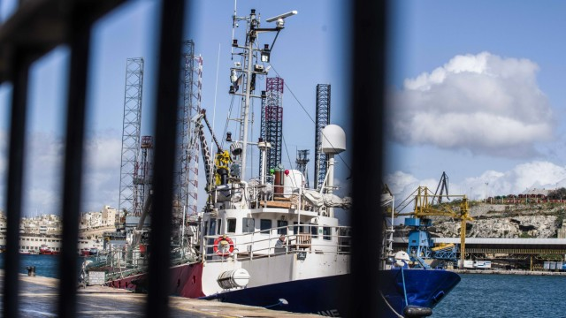May 16 2019 Valletta Malta The Mission Lifeline rescue ship captained by Claus Peter Reisch a