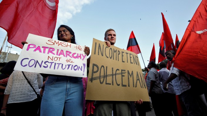 Jakob Lindenthal, a German student, attends a march to show solidarity with the students of New Delhi's Jamia Millia Islamia university, in Chennai