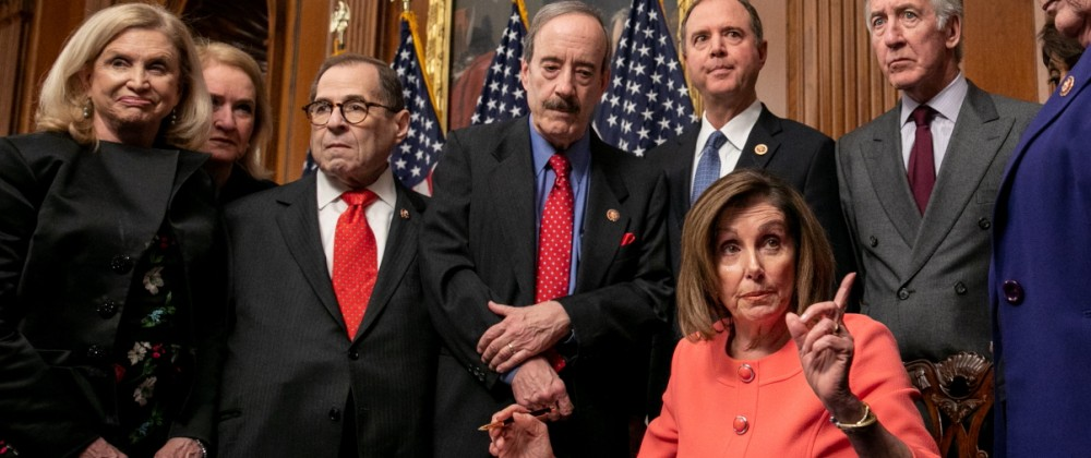 House Speaker Pelosi Holds Engrossment Ceremony For Articles of Impeachment And Procession Of Managers