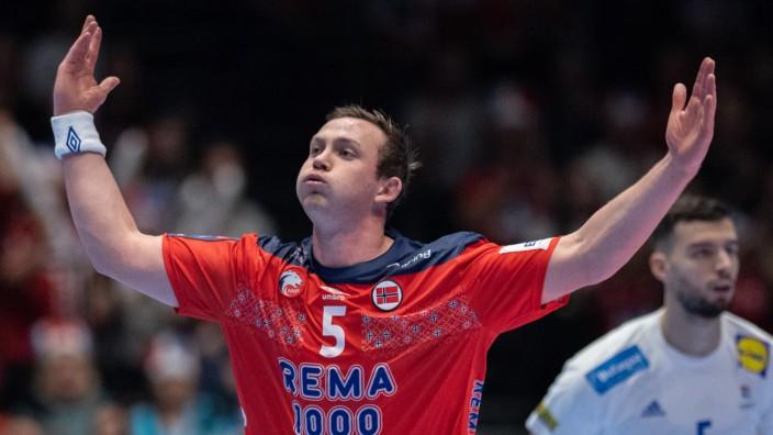 Handball-EM 2020: Norwegens Sander Sagosen jubelt gegen Frankreich