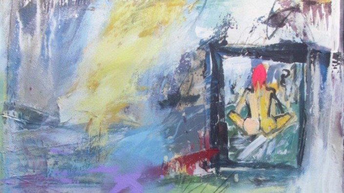 """Moosach: Blick auf ein Bild im Bild, auf einen Spielgel? Die Künstlerin Heike Eiber verrät es im Titel ihres Bildes: """"Vor dem Fenster"""" nennt sie ihre Arbeit, die in der Ausstellung """"Salon Colore 2.0"""" zu sehen ist."""