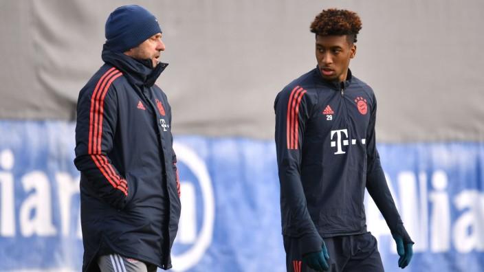 Hans Dieter Flick (Hansi ,Trainer Bayern Muenchen) mit Kingsley COMAN (Bayern Muenchen). Abschlusstraining FC Bayern Mue; Kingsley Coman Training FC Bayern