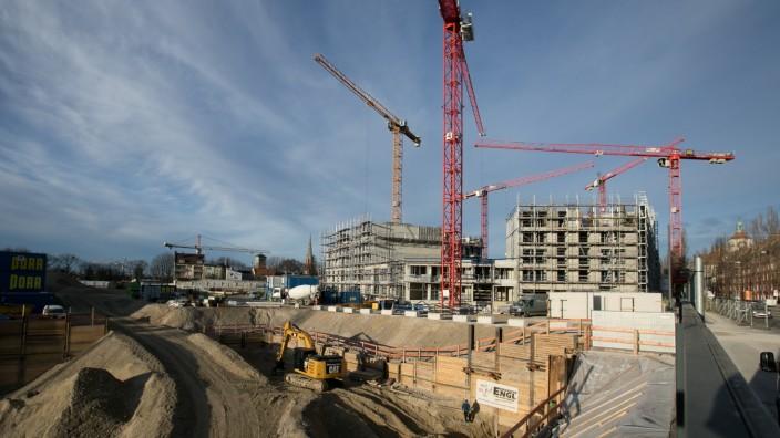 Baustelle auf dem ehemaligen Paulaner-Gelände. Genauer: ca. Welfenstraße, Ecke Regerstraße