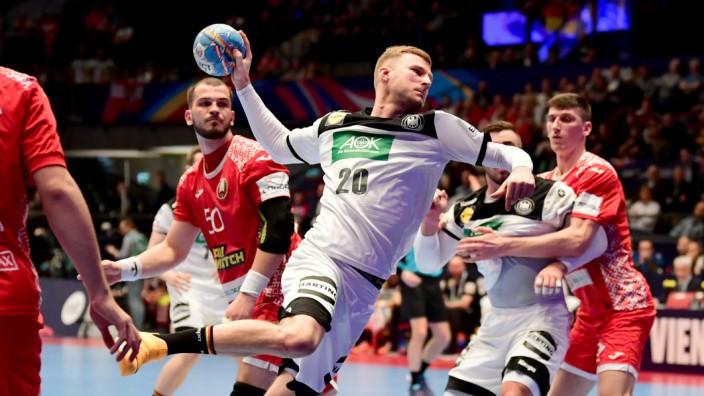 Handball-EM 2020: Philipp Weber beim Spiel Weißrussland gegen Deutschland