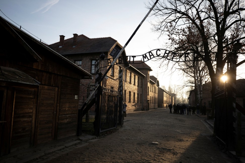 General view of the entrance of former Nazi German Auschwitz concentration camp complex in Oswiecim