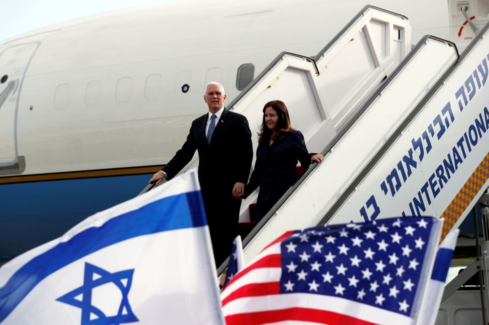 U.S. Vice President Mike Pence and his wife Karen disembark from a plane upon their arrival at Ben Gurion International Airport to attend the World Holocaust Forum at the Yad Vashem memorial centre, near Tel Aviv, Israel