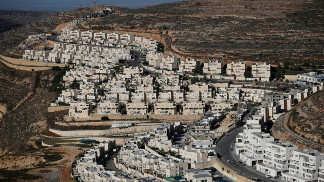 FILE PHOTO: A general view shows construction of the Israeli settlement of Ramat Givat Zeev in the occupied-West Bank