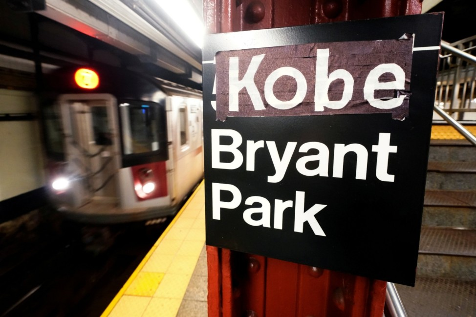 A New York City subway sign that has has been changed to read 'Kobe Bryant Park' in reference to the deceased NBA player is pictured in the Manhattan borough of New York City