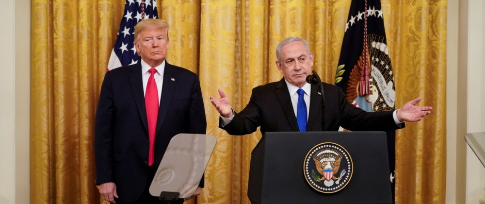 U.S. President Trump and Israel's Prime Mininister Netanyahu deliver remarks on Middle East peace plan proposal at the White House in WashingtonâĨ