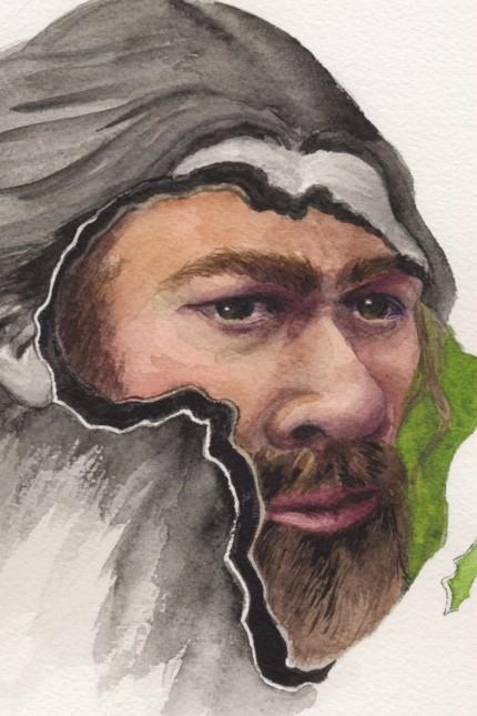 Neandertaler Illustration vom WISSEN Einmalige Nutzung im Zusammenhang mit dem Artikel!!!!
