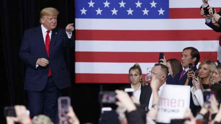 President Trump Campaigns In Iowa Ahead Of Democratic Caucus