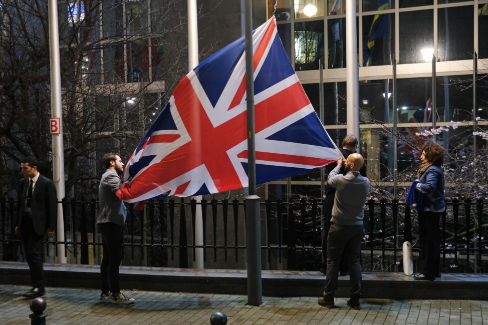 ***BESTPIX*** British Flag Removed From EU Buildings Following Brexit