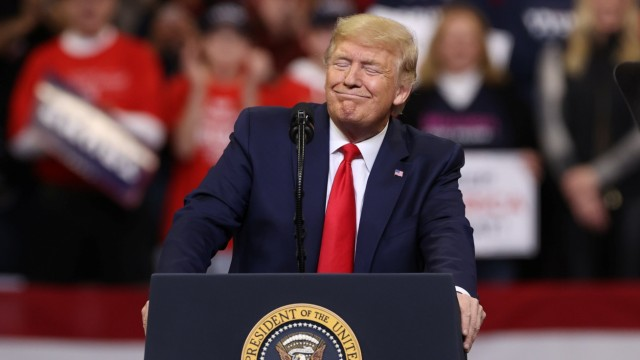 U.S. President Donald Trump rallies with supporters in Des Moines