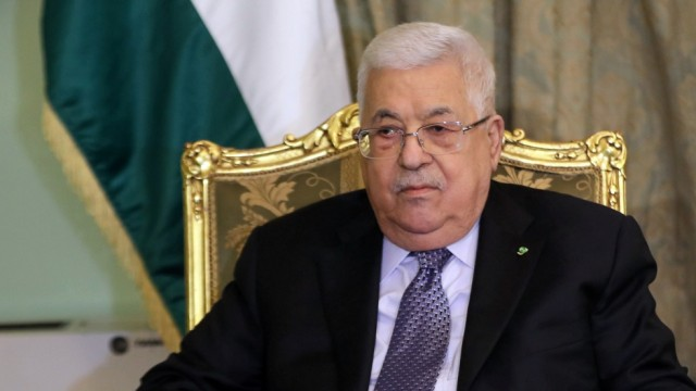 Palestinian President Mahmoud Abbas meets with Arab League Secretary General Ahmed Aboul Gheit (not pictured) in Cairo