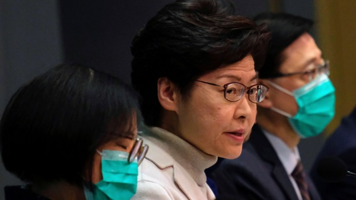 Hong Kong Chief Executive Carrie Lam speaks during a news conference, in Hong Kong