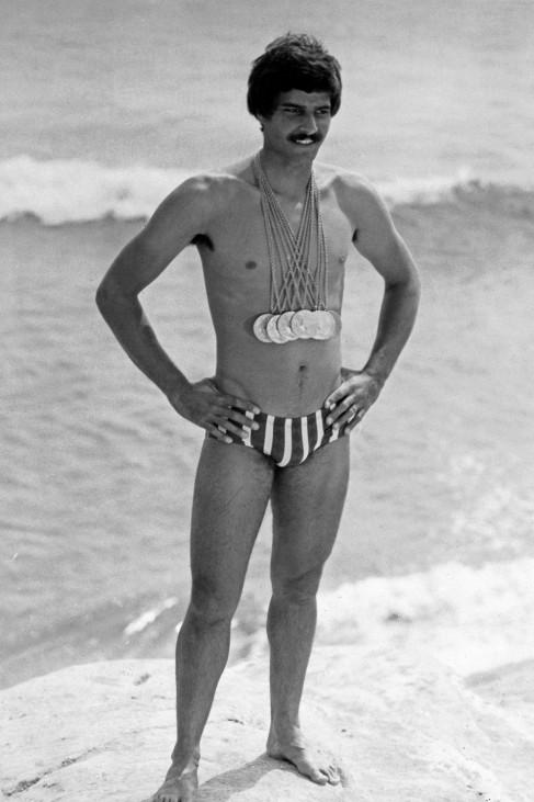 Der amerikanische Weltklasse Schwimmer Mark Spitz bei den Olympischen Spielen in München Deutschlan; Mark Spitz