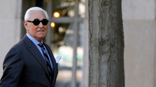 FILE PHOTO: Roger Stone, former campaign adviser to U.S. President Donald Trump, arrives for the continuation of his criminal trial on charges of lying to Congress, obstructing justice and witness tampering at U.S. District Court