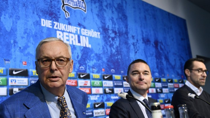Hertha Berlin news conference after Klinsmann resigned from his job as coach in Berlin