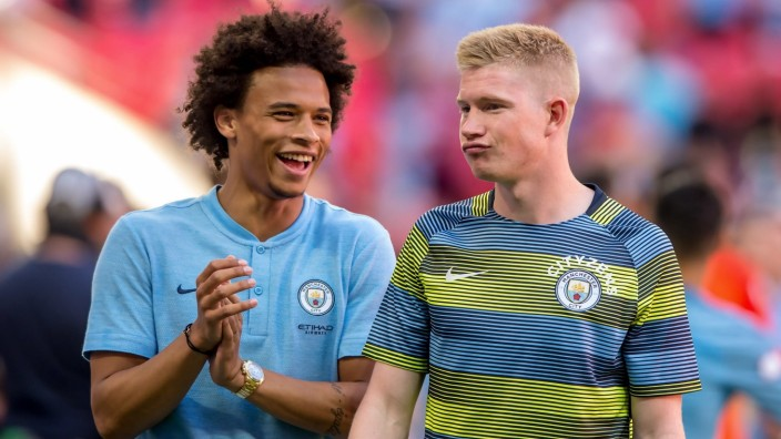 August 5, 2018 - Leroy Sane of Manchester City and Kevin De Bruyne of Manchester City celebrates the victory during the; Leroy Sane und Kevin De Bruyne