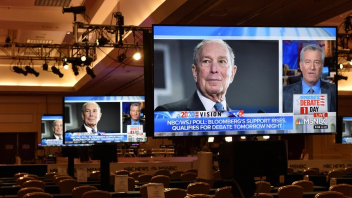 An image of Democratic presidential candidate Michael Bloomberg appears on a video monitor inside the media center for Wednesday?s Democratic presidential debate, in Las Vegas