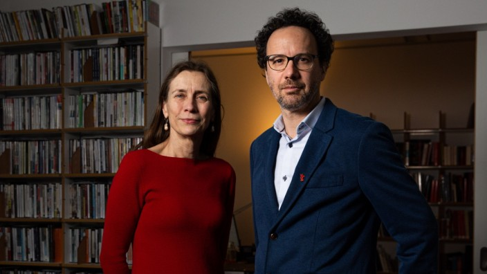 Mariette Rissenbeek and Carlo Chatrian, the co-directors of the Berlin Film Festival, in Berlin, Jan. 20, 2020. (Lena Mucha/ The New York Times)