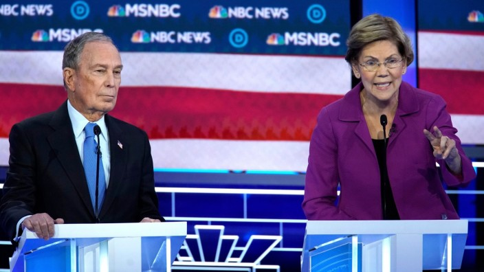 Senator Elizabeth Warren speaks at the ninth Democratic 2020 U.S. Presidential candidates debate at the Paris Theater in Las Vegas Nevada, U.S.