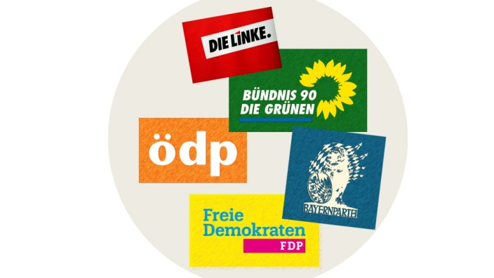 Oppositions-Parteien im Münchner Rathaus Logos
