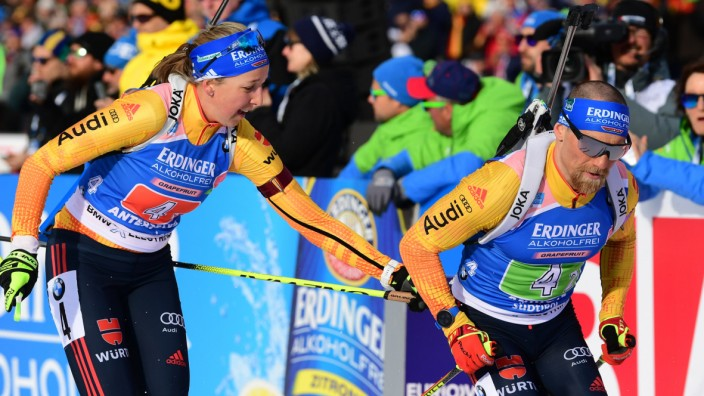 Biathlon-WM 2020 in Antholz: Franziska Preuß und Erik Lesser in der Single-Mixed-Staffel