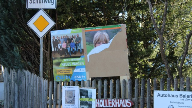 Cornelia Zechmeister (PWG), letztes, zerstörtes Wahlplakat in Irschenhausen