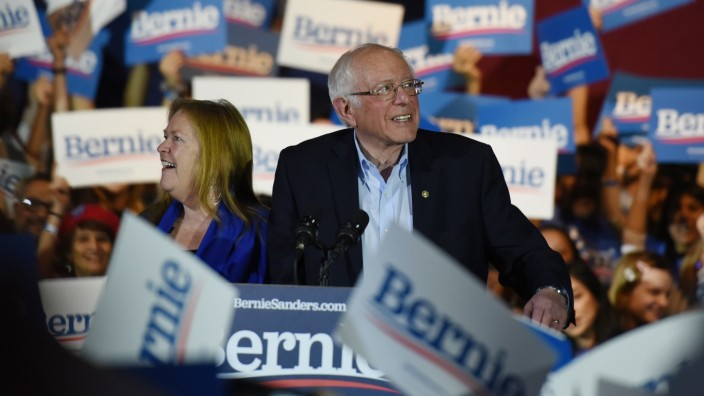 U.S. Democratic presidential candidate Senator Bernie Sanders addresses supporters after being declared the winner of the Nevada Caucus as he holds a campaign rally in San Antonio, Texas, U.S.