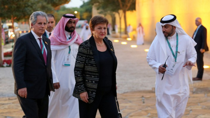IMF Managing Director Kristalina Georgieva arrives for a welcome dinner at Saudi Arabia Murabba Palace, during the G20 meeting of finance ministers and central bank governors in Riyadh