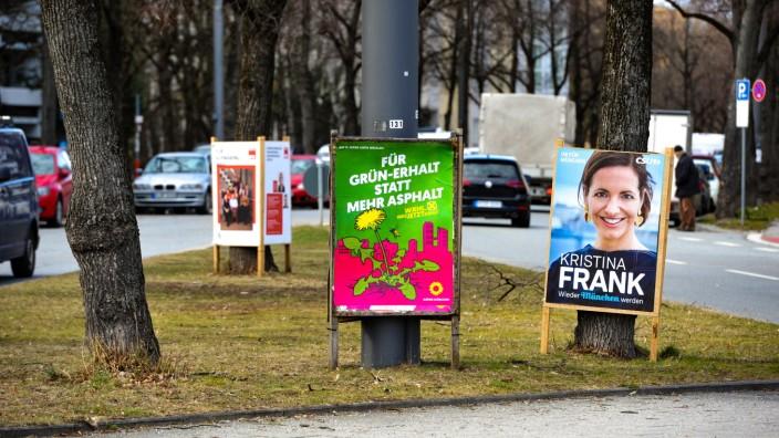 Wahlplakate für die Kommunalwahl in München, 2020