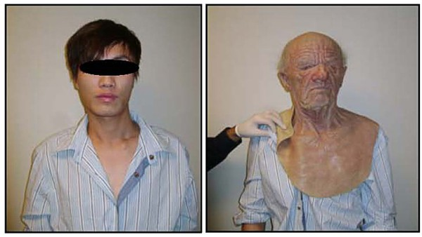 Combination photo shows a man in custody with and without his disguise in Vancouver