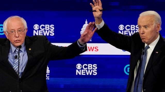 Democratic 2020 U.S. presidential candidates Sanders and Biden participate in the tenth Democratic 2020 presidential debate at the Gaillard Center in Charleston, South Carolina